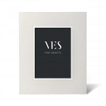 """Ves Design Portafoto da tavolo con cornice in legno in stile moderno """"White Lines"""" Istanti    13x18"""