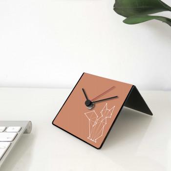 """Design Object Orologio da scrivania per casa o ufficio in metallo con dedica sul retro """"VOLPE"""" Totem Collection     IT225"""